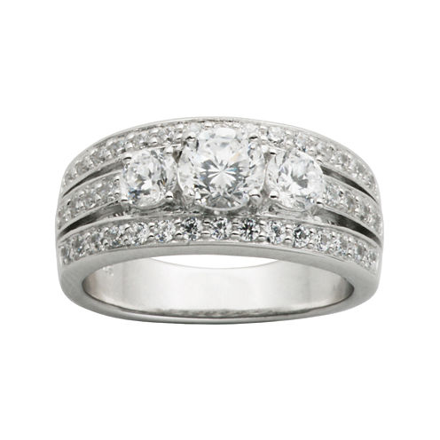 DiamonArt® Cubic Zirconia Sterling Silver 3-Stone Wedding Band