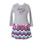 Pinky Chevron Heart Marsha Dress - Preschool Girls 4-6x