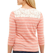 Arizona Long-Sleeve Lace-Yoke T-Shirt