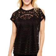 nicole by Nicole Miller® Short-Sleeve Cold-Shoulder Burnout Top