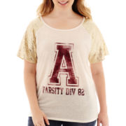 Arizona Short-Sleeve Sequin Baseball T-Shirt - Juniors Plus