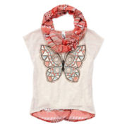 Knit Works Split-Back Tee and Scarf - Girls 7-16 and Plus