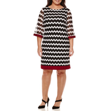 jcpenney.com | Studio One 3/4-Sleeve Lace-Up Sheath Dress - Plus
