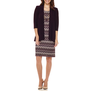 jcpenney.com | R&M Richards 3/4-Sleeve Jacket Dress with Necklace - Petite