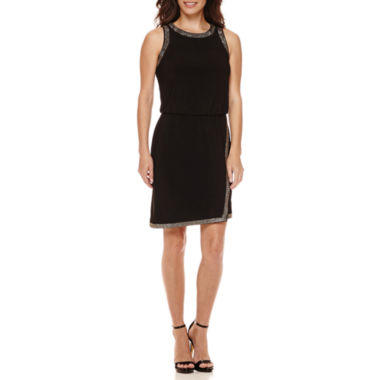 jcpenney.com | Scarlett Sleeveless Studded-Trim Faux-Wrap Sheath Dress - Petite
