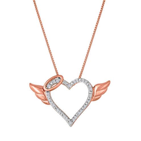 1/10 CT. T.W. Diamond Angel Heart Pendant Necklace