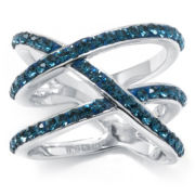 "Sterling Silver Blue Crystal Multi ""X"" Ring"
