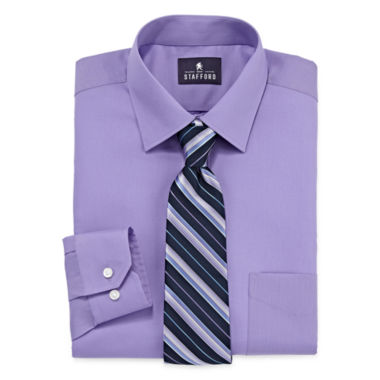jcpenney.com | Stafford® Travel Long-Sleeve Easy-Care Dress Shirt and Tie Set