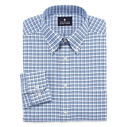 Stafford® Long-Sleeve Wrinkle-Free Oxford Travel Dress Shirt - Big & Tall