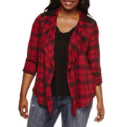 Self Esteem® Long-Sleeve Plaid Layered Shacket - Plus