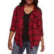 Self Esteem® Long-Sleeve Plaid Layered Shacket - Plus