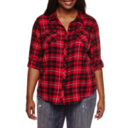 Arizona Long-Sleeve Classic Plaid Shirt- Juniors Plus