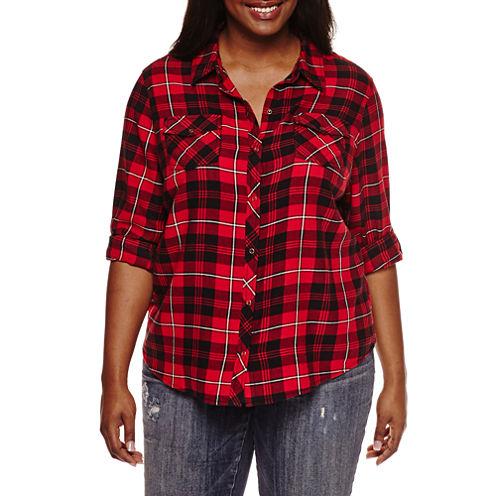 Arizona Long-Sleeve Classic Plaid Shirt- Juniors Plus