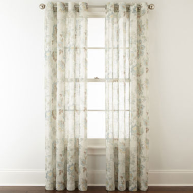 jcpenney.com | JCPenney Home™ Bismarck Grommet-Top Sheer Curtain Panel