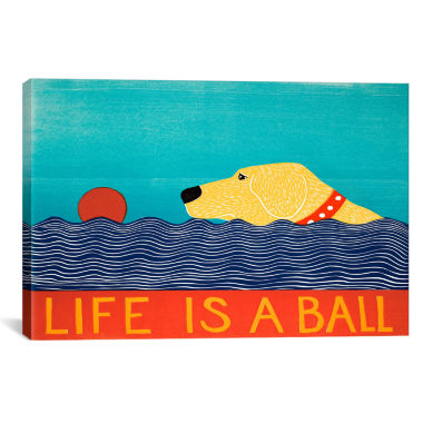 jcpenney.com | Life Is A Ball Yell by Stephen Huneck Canvas Wall Art