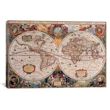 "jcpenney.com | iCanvas® Antique World Map by Henricus Hondius 18x26"" Canvas Wall Art"
