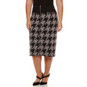 Worthington® Zipper-Front Houndstooth Skirt - Plus