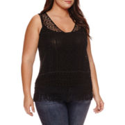 a.n.a® Crochet V-Neck Fringe Tank Top - Plus
