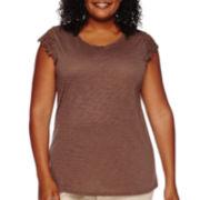 St. John's Bay® Short-Sleeve Lace Sleeve Tee - Plus