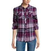 Arizona Long-Sleeve Classic Plaid Button-Front Shirt
