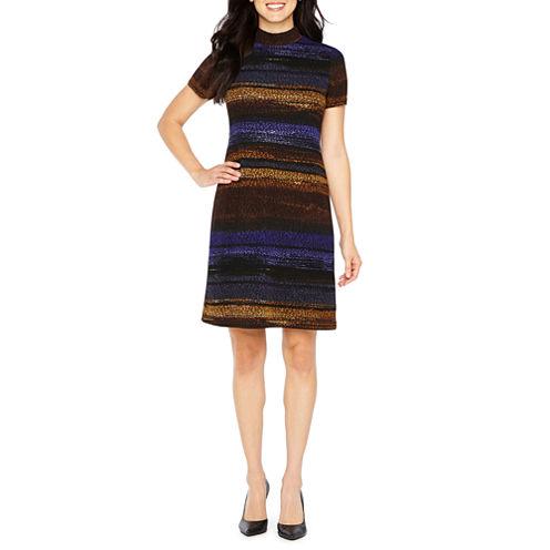 London Style Short Sleeve Ombre Shift Dress