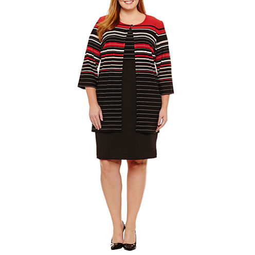 Danny & Nicole 3/4 Sleeve Jacket Dress-Plus