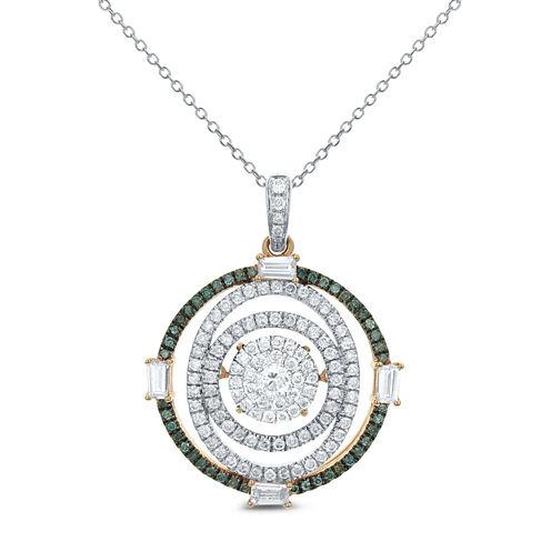 Womens 1 CT. T.W. White Diamond 14K Gold Pendant Necklace