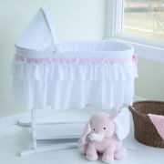 Lamont Home Good Night Baby Bassinet - White Half Skirt w/ 3 Interchangeable Bow