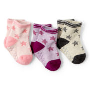 Joe Fresh™ 3-pk. Ankle Socks - Girls newborn-24m
