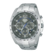 Pulsar® Mens Silver-Tone Chronograph Watch PT3627