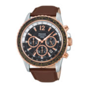 Pulsar® Mens Brown Leather Chronograph Watch