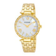 Pulsar® Womens Crystal-Accent and Gold-Tone Bracelet Watch