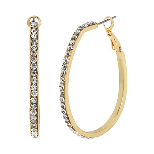 Worthington® Gold-Tone Crystal Oblong Hoop Earrings