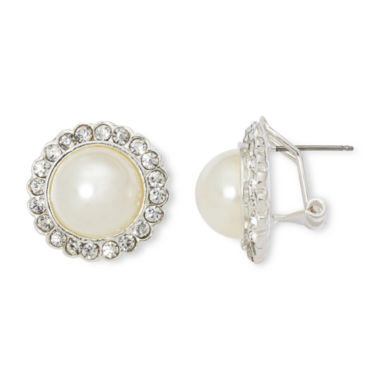 jcpenney.com | Vieste® Rhinestones and Simulated Pearl Halo Stud Earrings