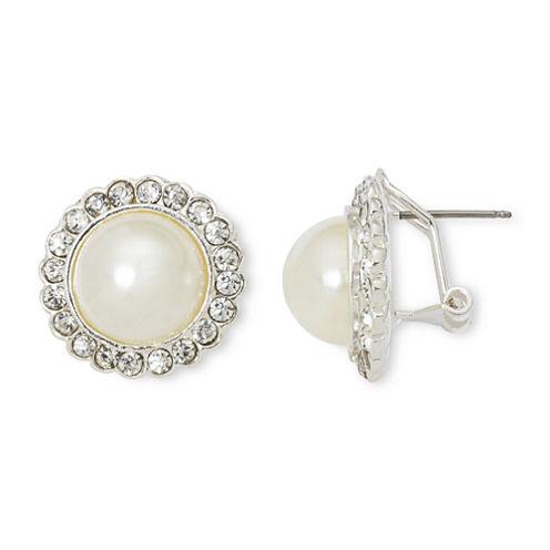 Vieste® Rhinestones and Simulated Pearl Halo Stud Earrings