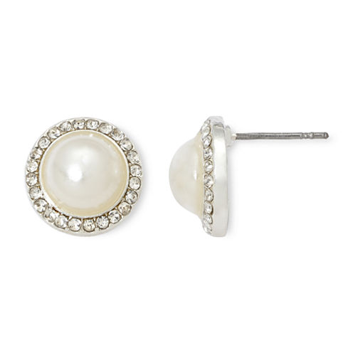 Vieste® Rhinestones and Simulated Pearl Stud Earrings