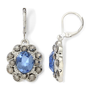 jcpenney.com | Monet® Blue Glass & Marcasite Drop Earrings