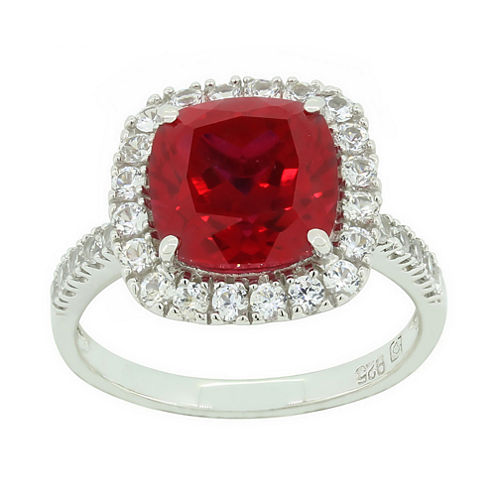Lab-Created Ruby & White Sapphire Sterling Silver Halo Ring