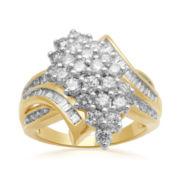 2 CT. T.W. Diamond Cluster 10K Yellow Gold Ring