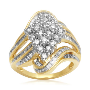 jcpenney.com | 2 CT. T.W. Diamond Cluster 10K Yellow Gold Swirl Ring
