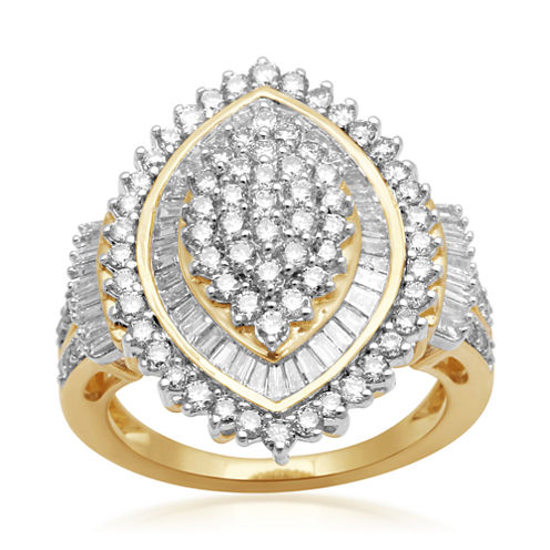 2 CT. T.W. Diamond 10K Yellow Gold Cluster Ring