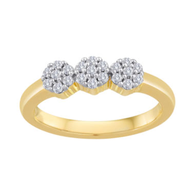 jcpenney.com | diamond blossom 1/4 CT. T.W. Diamond Cluster 10K Yellow Gold Ring