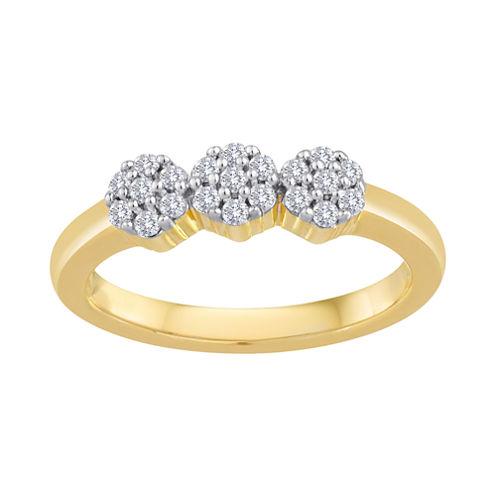 diamond blossom 1/4 CT. T.W. Diamond Cluster 10K Yellow Gold Ring