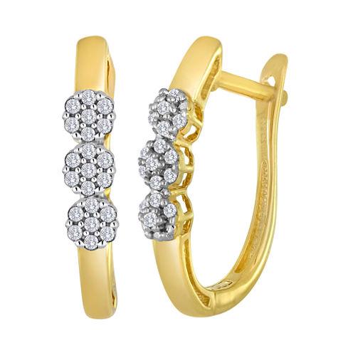 diamond blossom 1/10 CT. T.W. Diamond Cluster 10K Yellow Gold Hoop Earrings