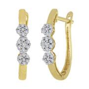diamond blossom 1/4 CT. T.W. Diamond Cluster 10K Yellow Gold Hoop Earrings