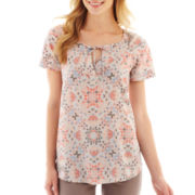 a.n.a® Short-Sleeve Cuffed Henley Blouse