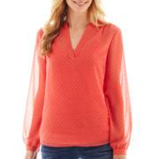 a.n.a® Long-Sleeve Embellished Polka Dot Blouse