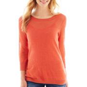 a.n.a® 3/4-Sleeve Mesh-Yoke Sweater