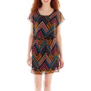 City Triangles® Printed Cap-Sleeve Blouson Dress