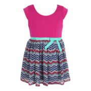 Pinky Chiffon Zig Zag Print Dress - Girls 2t-6